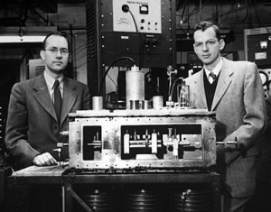 Charles Townes and James Gordon in 1955 with their original maser