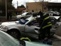 Albany fire department uses jaws of life to extricate a Honda Civic driver/Photo: Jane Tierney