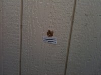 The bullet hole that was made in the wall of a portable classroom at BHS this morning.