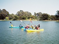 Students from Berkeley's Longfellow Middle School learn to kayak on a Berkeley Boosters camp. Photo: Berkeley Boosters