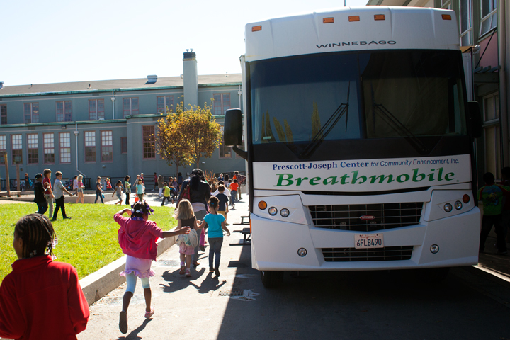 Outside the Breathmobile at Malcolm X Elementary School, Oct. 18, 2012. Photo: Emilie Raguso