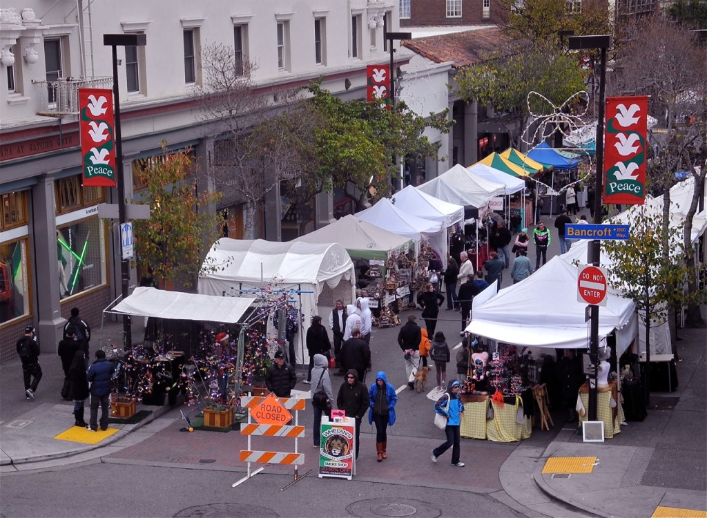 The 30th Annual Telegraph Avenue Holiday Fair opened this weekend under rainy skies. Photo: Ted Friedman