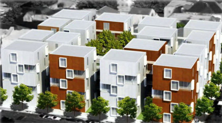 A rendering for the 18 buildings proposed for 2201 Dwight Way.