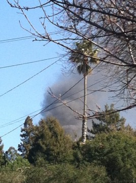 The smoke plume from a Berkeley home on fire on Keith Avenue. Photo: Max Webster