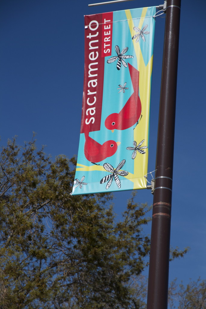 A banner at Sacramento and Julia streets focuses on the environment. Photo: Kaia Diringer