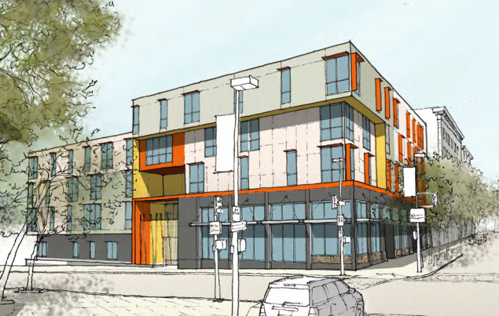A rendering of the 42-unit residential and commercial building being built on the site of the former Sequoia Apartment building at 2441 Haste St. at Telegraph. Source: Kahn Design Associates