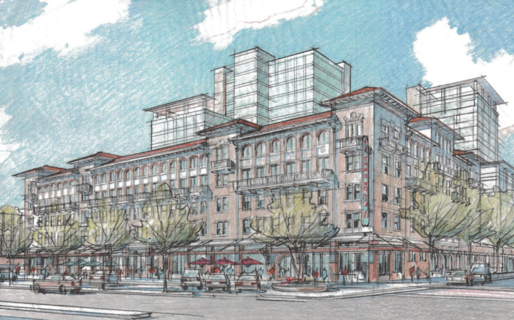 A rendering of the Residences at Berkeley Plaza as seen from Shattuck Avenue. Courtesy of HSR Berkeley Investments