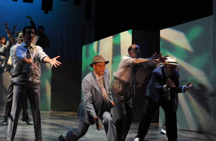 "Sky Masterson (c, Carmichael J. Blankenship) and his guys (front l-r, Gregory Sottolano, Lucas Brandt, and Terry Rucker) perform ""Luck Be a Lady"" in Berkeley Playhouse's Guys and Dolls. Photo: Ken Levin, courtesy of Berkeley Playhouse"
