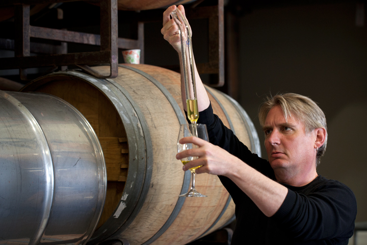 Dan Cook, the mead maker, tests the mead at Urbano Cellars in Berkeley. Photo: Emilie Raguso