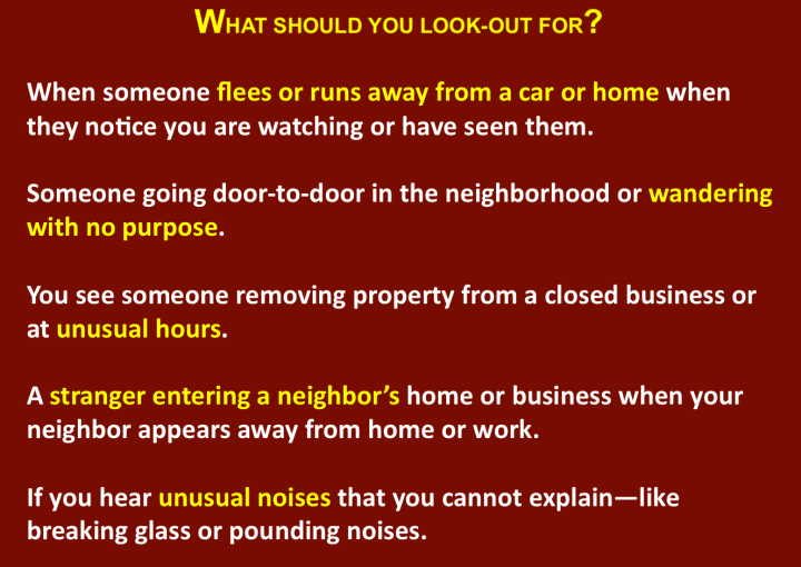 A slide from officer Byron White's presentation details some types of suspicious behavior that residents can watch out for.