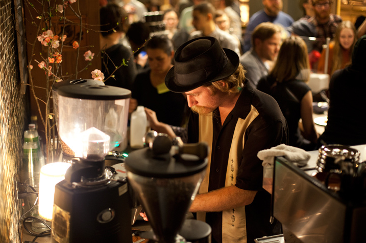 A barista pulls shots for latte art competitors during the Awaken Café in February. Photo: Emilie Raguso