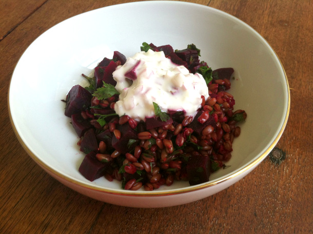 Borscht-style beets and wheat berries with a yogurt dill drizzle. Photo: Kate Williams