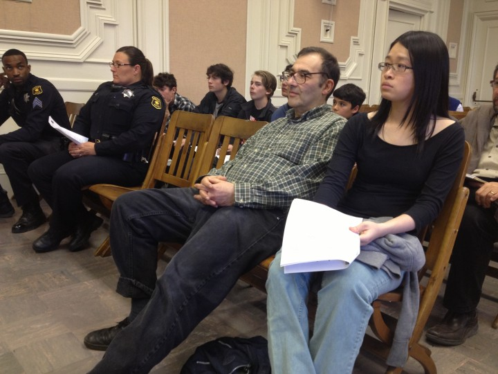 Ken Sarachan, in plaid, waits to address Berkeley's Zoning Adjustments Board on Thursday, May 9, 2013. Photo: Emilie Raguso