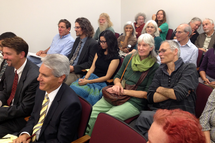 Many Occupy the Farm supporters attended Thursday's court hearing in Oakland. (Attorneys for the defendants, UC and the city of Albany, are in the front row.) Photo: Emilie Raguso