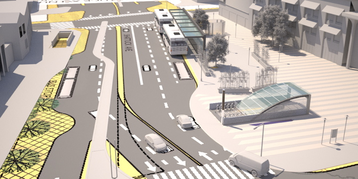 An early conceptual rendering of the new Downtown Berkeley BART Plaza.