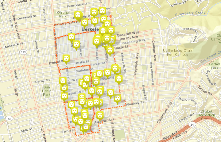 So far this year, 64 robberies have taken place in Area 3. Click the map for a full list of incidents through May 7. Image: CrimeView Community