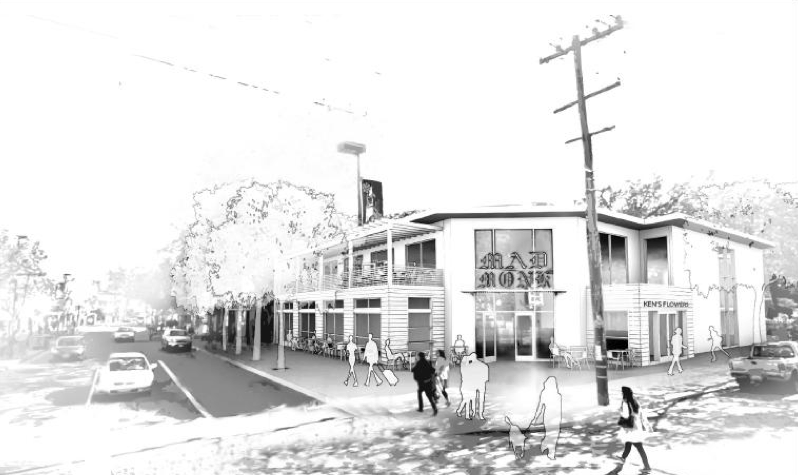 An architectural rendering of what the Mad Monk Center on Telegraph could look like. Image: Avila Design