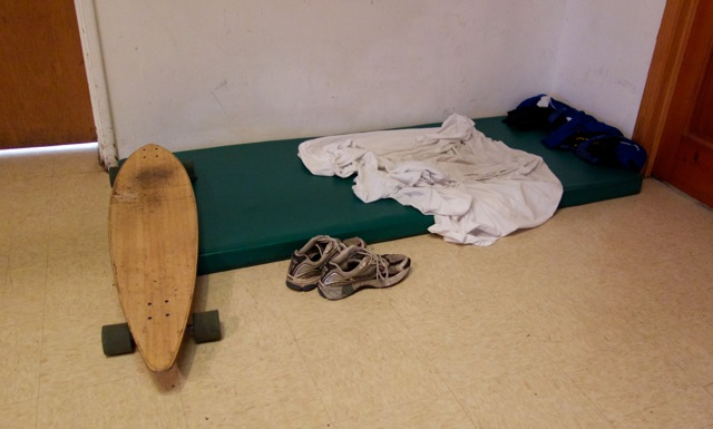 One resident's bed and belongings, on the last day before the YEAH shelter closed for the summer