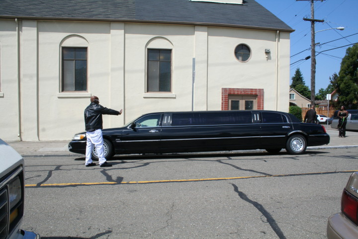 A limousine from Fouche's Hudson Funeral Home brought the family to the church. Photo: Frances Dinkelspiel
