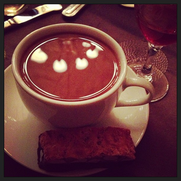 McLaughlin coffee with chocolate-dipped almond biscotti from Semifreddi's. Photo: Emilie Raguso