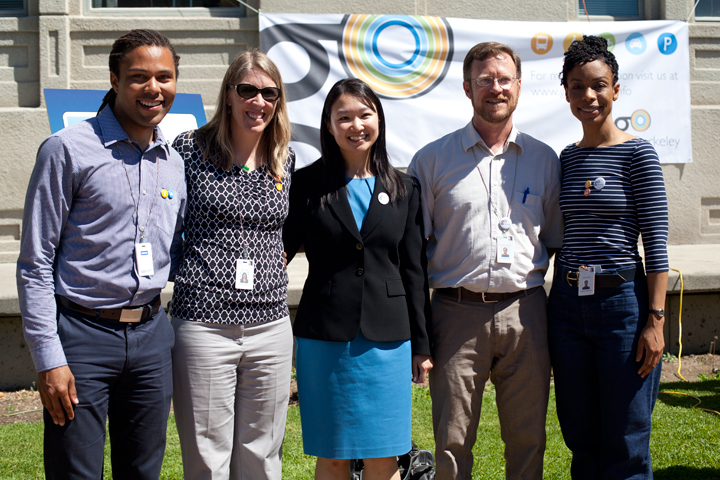Five members of the city of Berkeley team who have been working to develop goBerkeley over the past year. From left to right: Warren Logan, Amy Anton, Willa Ng, Matt Nichols and Fatema Crane. Photo: Emilie Raguso