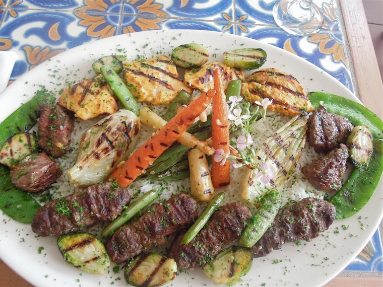 Kabob feast for two features veggies from the garden. Photo: Anna Mindess