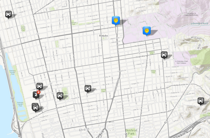 Many of the 11 thefts or burglaries from vehicles reported June 3 occurred in southwest Berkeley. (The lone northeast Berkeley incident does not appear on the map.) Click the map for a full list of incidents and times.