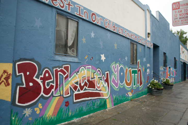 The walls of the Berkeley Youth Alternatives building on Allston and Bonar are covered in murals by past students. Photo: Eden Teller