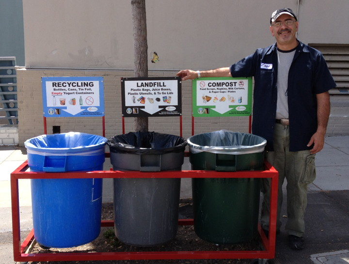 One of the four waste stations built by Washington Elementary custodian Rafael Delatorre. Photo: Deborah Moore