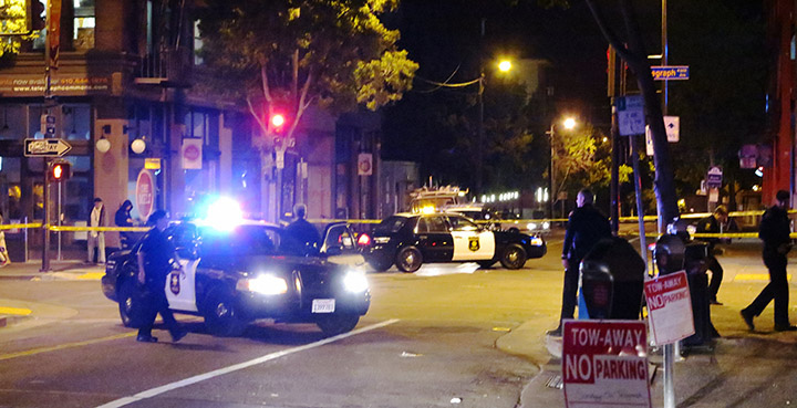 Police investigate the scene of a shooting near Telegraph Avenue and Channing Way in Berkeley, California, early Sunday, June 16, 2013. Photo by David Yee