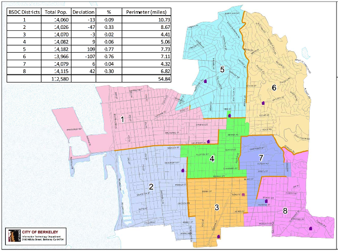 This Berkeley Student District Campaign map was approved by the Berkeley City Council on Tuesday night. Image: City of Berkeley