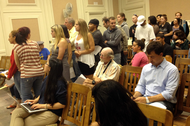 A long line of supporters for both ice cream endeavors waits to speak before the council. Photo: Emilie Raguso