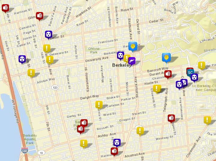 Selected calls for service to the Berkeley Police, June 20-26, via CrimeMapping.com. (Scroll down for maps of home burglaries, auto burglaries and auto thefts.) The red icons show physical violence. The blue icons with a white mask are robberies. Yellow icons are reports of a disturbance. Click the map for the full list.