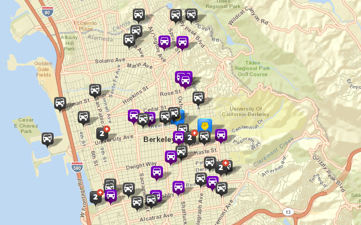There were 33 thefts or burglaries from vehicles reported in Berkeley from June 20-26, via CrimeMapping.com. There were 26 reported the prior week. There were also four vehicles stolen (shown in purple). Click the map for a list of incidents.