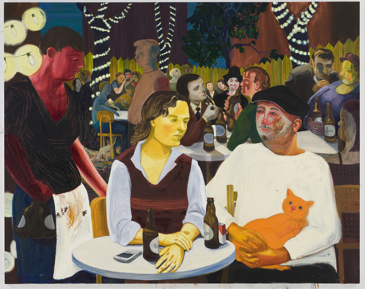Nicole Eisenman: Beer Garden with Ulrike and Celeste, 2009; oil on canvas; 65 x 82 in.; Hall Collection. Photo courtesy Leo Koenig, Inc., New York