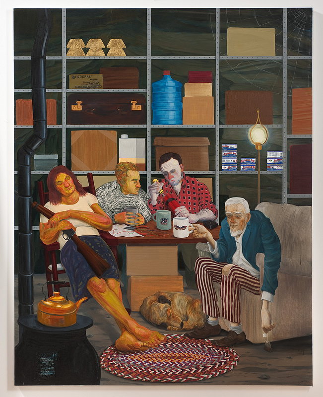 Nicole Eisenman: Tea Party, 2011; oil on canvas, 82 × 65 in.; Hort Family Collection. Photo: Robert Wedemeyer, courtesy of Susanne Vielmetter Los Angeles Projects.