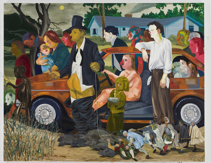 Nicole Eisenman: The Triumph of Poverty, 2009; oil on canvas, 65 × 82 in.; collection of Dr. Thomas J. Huerter.