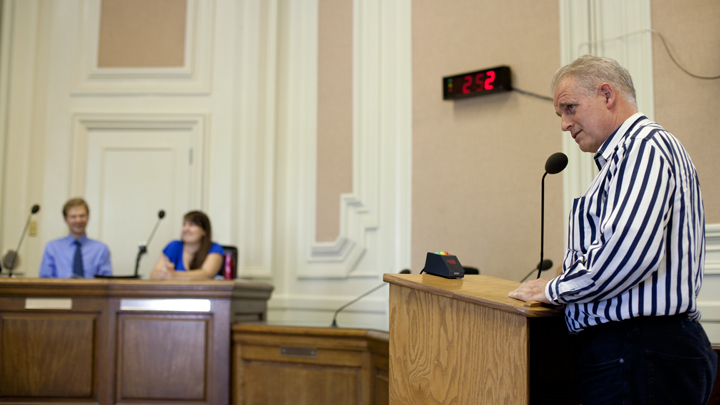 Worthington helped make the event more authentic by speaking during the public comment period for at least one proposal. Photo: Emilie Raguso