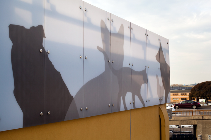 These panels, and similar ones hung throughout Berkeley's new animal shelter, are the project's public art elements. Photo: Emilie Raguso