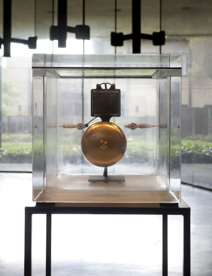 As a demonstration, 2013; By Zarouhie Abdalian; acrylic vacuum chamber, electric bell, and steel; Photo: Sibila Savage.