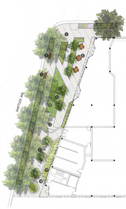 A public mini-park has been proposed on the corner of Shattuck and Derby. Image: Axis Development Group