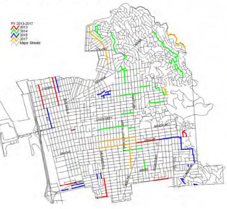 The 2013-17 paving plan is pictured here. The plan is updated annually.