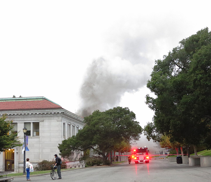 Emergency personnel respond to an explosion and fire on the UC Berkeley campus Monday, Sept. 30, 2013. The explosion apparently occurred in an electrical generator. Photo: David Yee