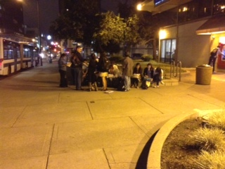 UC students create an improvised classroom on Center Street to review biology. Photo: Frances Dinkelspiel