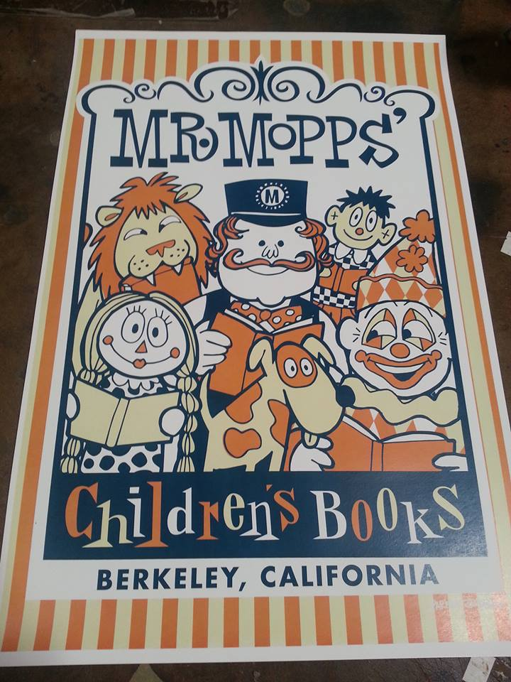 Poster for Mr. Mopps' Children's Books. Photo: Mr. Mopps' toy shop.