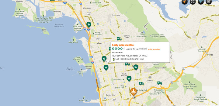 The online cannabis resource, Weed Maps, shows the location of Forty Acres Medical Marijuana Growes' Collective at 1828 San Pablo Avenue.