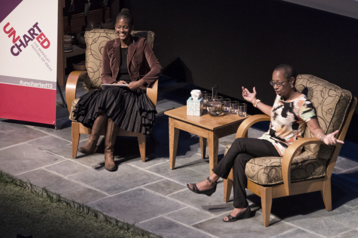 Linda Burnham (right) and Dani McClain talk about race, class and feminism on Saturday at Uncharted. Photo: Pete Rosos
