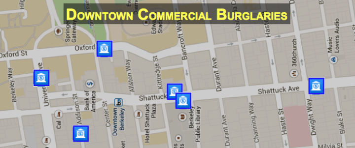 Police have identified a pattern of commercial burglaries in downtown Berkeley in October. Image: Berkeley Police