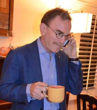 Schekman takes a call at home after getting the news. Photo: Carol Ness/UCB News
