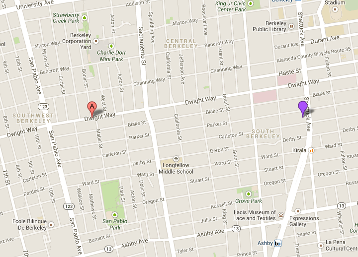 Police arrested four people, including three minors, in West Berkeley (red marker) after a robbery downtown (purple marker) on Sunday night. Image: Google maps